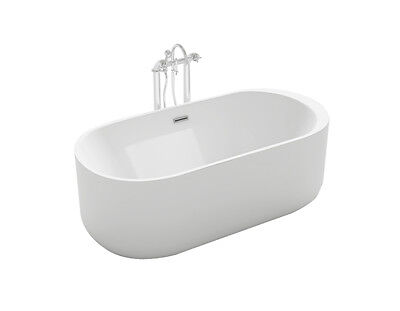 1001NOW Piave Stylish Freestanding White Acrylic Seamless Bathtub 67""