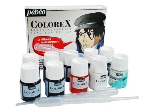 Pebeo Colorex Liquid Watercolour Ink 8 x 20ml & Drawing Gum Illustrator Set