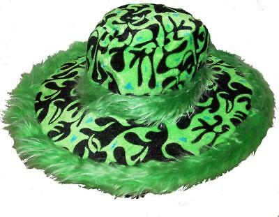 GREEN FLAMING FUZZY WIDE RIM PLUSH PARTY HAT mens womens pimp hippie hats NEW