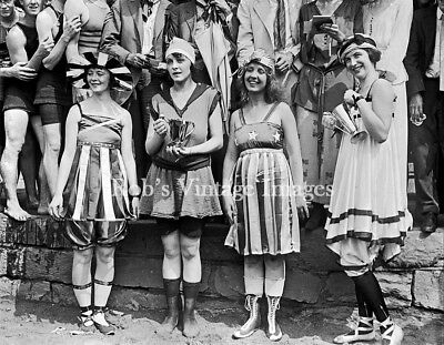 Flapper Women Girls Swimsuits Photo  Beauty Pageant 1920s Jazz Prohibition  - 20s Flapper Girls