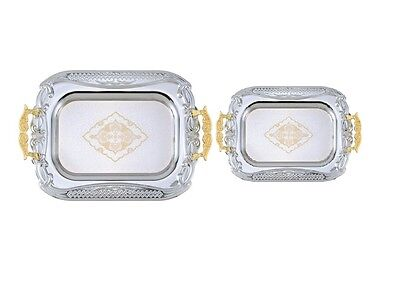2 Piece Chrome Plated Decorative Serving Tea Tray Gold Handle/Accents AI20989