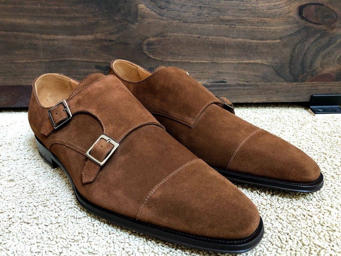 NWT SuitSupply Tobacco Suede Double Monk Strap Shoes 10.5 Blake Welt 43.5 299 - $179.95
