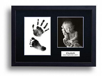 Personalised Hand print Footprint Kit Baby Shower Gift Christening Black Frame