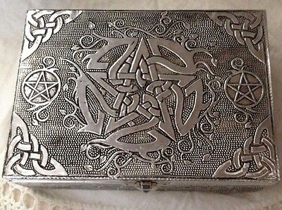 Pentagram White Metal Velvet Lined Box Altar Home Wiccan Pagan Metaphysical