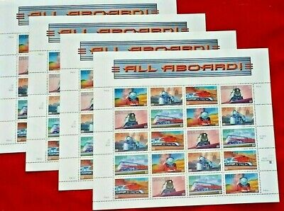 Four x 20 = 80 ALL ABOARD ! (Railroad Trains) 33¢ US Postage Stamp Sc 3333-3337