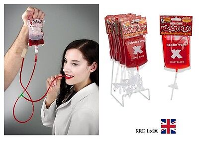 Blood Bag Candy (CANDY BLOOD In Transfusion Bag Drip Halloween Horror Vampire Stage Make Up Lot)