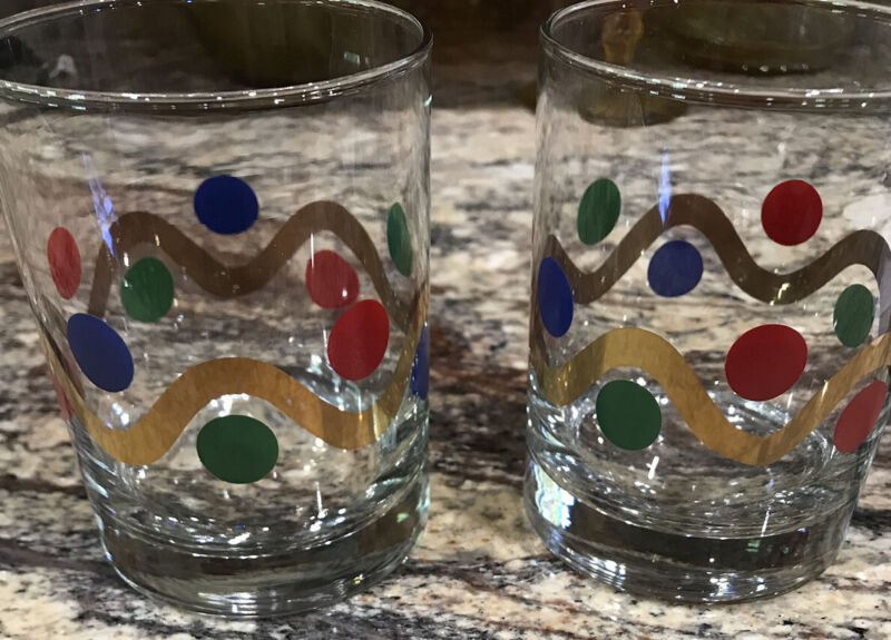 """2 HTF LIBBEY DOF GLASSES HOLIDAY DOTS GREEN BLUE RED W GOLD SWIRL UNUSED 4 1/8""""T"""