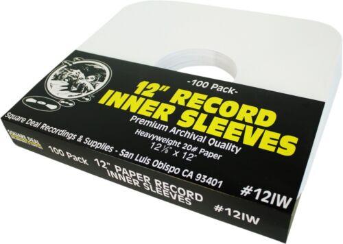 "(100) 12"" LP Vinyl Record Inner Sleeves - ARCHIVAL White Heavyweight Paper 12IW"