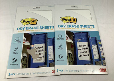 2 New Sets Of 3m Post-it Dry Erase Whiteboard Sheets 6 Total Free Shipping