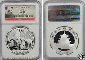 2013 NGC MS69 China 1 Oz Silver Panda S10 Yuan