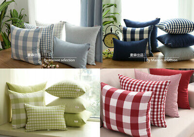 Country Check Plaid Gingham Stripe Blue Green Red Cushion Cover Pillow Case 18""