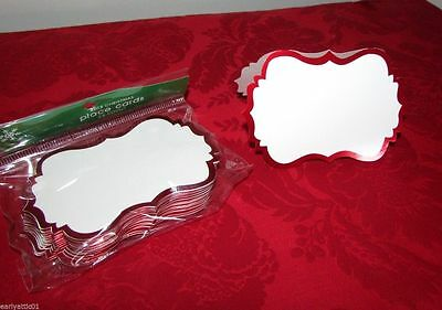 Red Scalloped Framed White Place Cards 24 Pack  Red Metallic Accent -