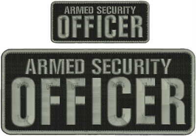 Armed Security Officer embroidery patch 4X10 and 2x5 hook all silver