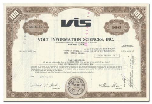Volt Information Sciences, Inc. Stock Certificate