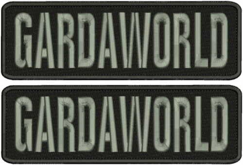 GARDAWORLD EMBROIDERY PATCH 3X10 HOOK ON BACK BLK/GRAY