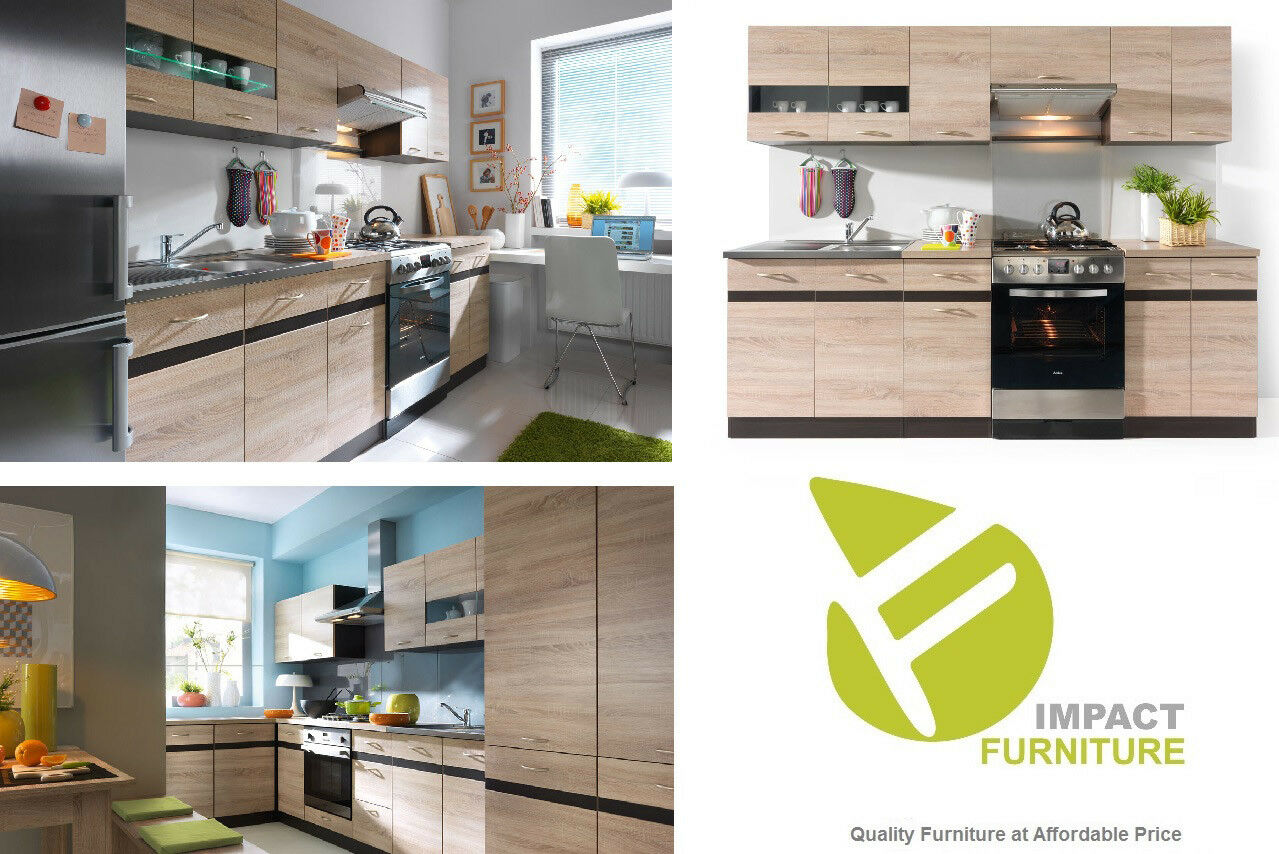 Details about complete kitchen set 7 units cabinet sonoma oak 240 cm budget cheap small modern