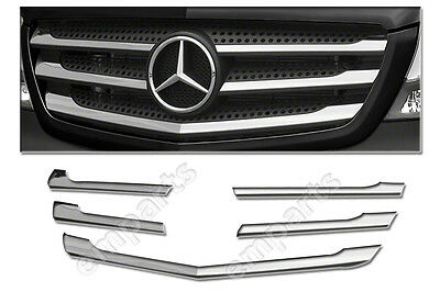 Mercedes Sprinter Front Grille Chrome Trim Strip Stainless 5Pcs Facelift 2014 >