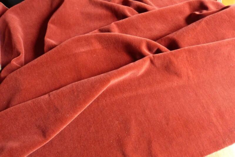 "RARE ANTIQUE FRENCH RASPBERRY RED MOHAIR VELVET FABRIC 50x52"""