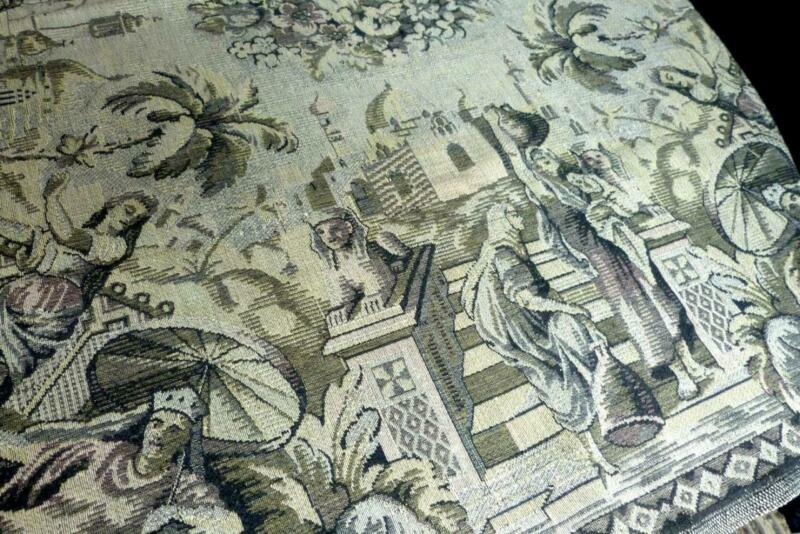 FIGURAL WOVEN GREY/GREEN PROMOTERISM TABLECLOTH EGYPTIAN SCENES 58x54""