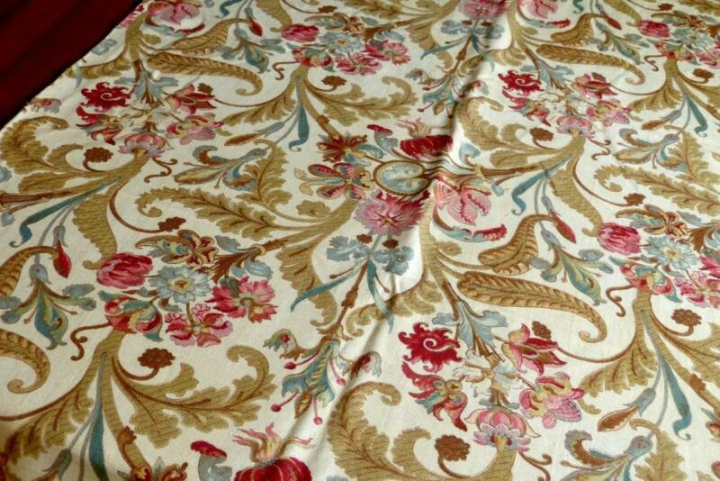 """GEORGOUS 1840 FRENCH BLOCKPRINT STRUCTURED COTTON FABRIC FLORAL ORNAMENTS104x31"""""""