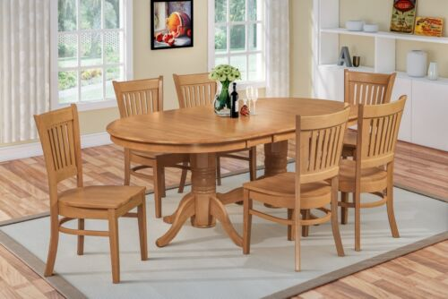 "9 Piece Oval Dinette Dining Table Set 42""x78""  W/. 18"" Leaf Wooden Chairs In Oak"