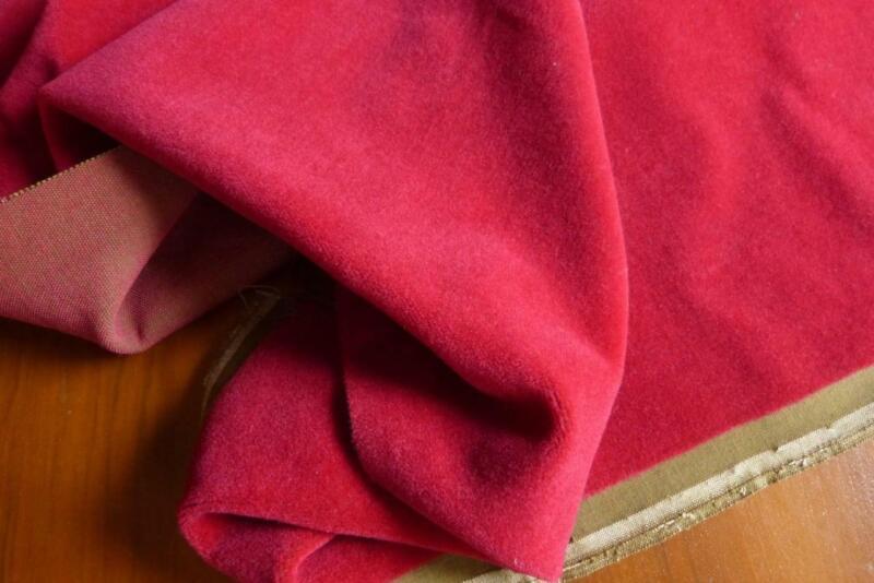 "RARE ANTIQUE FRENCH WINE RED MOHAIR VELVET FABRIC 50x36"""