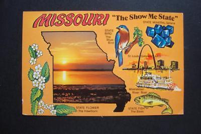 167) MISSOURI STATE MAP ~ RIVERBOAT ~ ST LOUIS ~ GATEWAY ARCH ~ BLUE BIRD ~ BASS