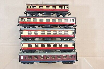 HORNBY DUBLO TRIX RAKE of 5 BR CRIMSON CREAM COACH GRAVE YARD SPARES REPAIR nv