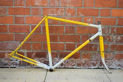 1970s VINTAGE 56CM REYNOLDS 531? STEEL ROAD BICYCLE FRAMESET, NICE LUGWORK