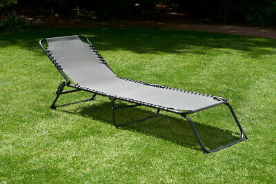 Textiline Sun Lounger sunbed folding Bed black frame grey all weather