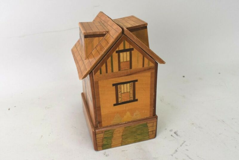 Vintage Wooden House Puzzle Box Hidden Drawer Japan