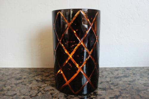 Yankee Candle Harlequin Jar Candle Holder~Halloween~Black/Orange~