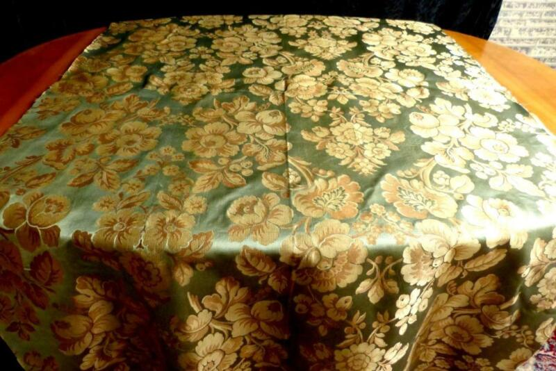 EARLY 19THC FRENCH SILK FABRIC GOLDENBEIGE FLOWERS ON ANTIQUE GREEN GROUND 134""
