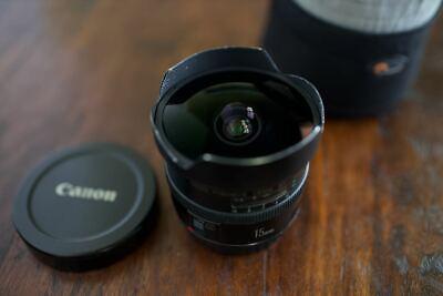 Canon EF 15mm f/2.8 L fisheye Lens W/ Lowepro 1S Lens Pouch EOS Photography