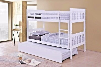 LYDIA NEW 3FT SINGLE SOLID WOODEN BUNK BED IN WHITE AND OAK FINISH + TRUNDLE