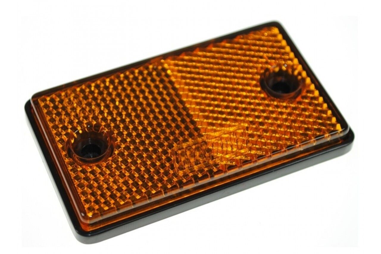 PAIR OF REFLEX SIDE MOUNTING AMBER RECTANGLE OBLONG REFLECTORS WITH SCREW HOLES