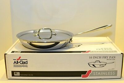 """All Clad Stainless Steel 10 """" Fry Pan with Lid New in Box"""