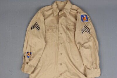 1940s Men's Shirts, Sweaters, Vests Vtg Men's 1940s WWII USAAF Army Air Force 2nd Air Corps Uniform Shirt M 40s WW2  $44.99 AT vintagedancer.com