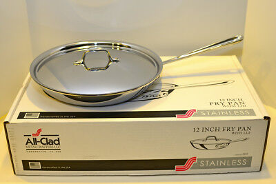 """All Clad Stainless Steel 12 """" Fry Pan with Lid New in Box"""