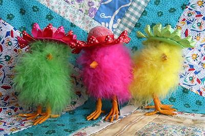 Bright Fuzzy Easter Chicks in Ribbon Hats Set of 3