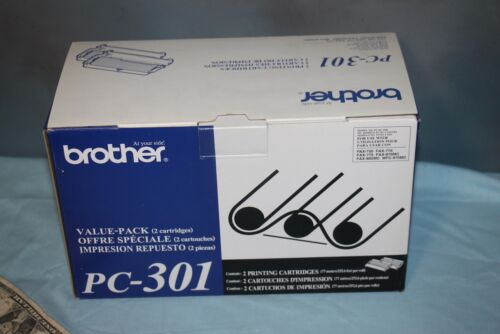 NEW 2-Pack Genuine Brother PC-301 Fax/Printer Cartridge Retail Packaging
