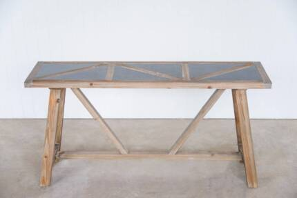 Reclaimed Fir and Stone Console Table
