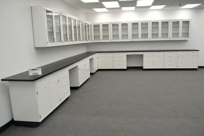 34ft White Metal Base Cabinets 29ft Glass Door Wall W Tops Desks