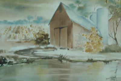 Vintage 1982 Watercolor of a Barn With Silos by Michigan Artist Irene Teller