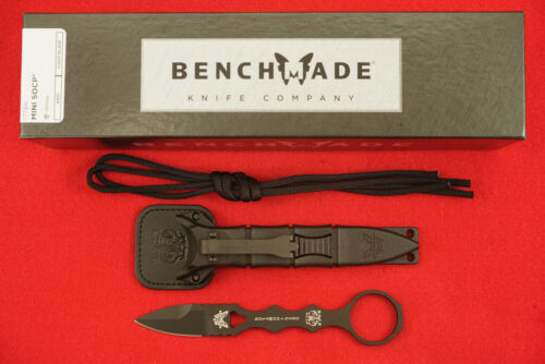 BENCHMADE 177BK MINI SOCP DAGGER SINGLE EDGED 440C BLACK CERAKOTE KNIFE