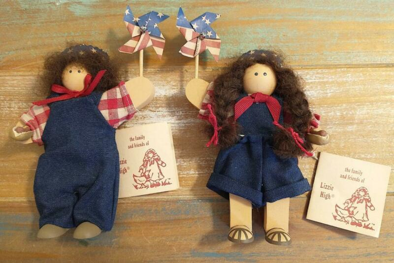 Collectable The Family & Friends Of Lizzie High Boy & Girl Wooden Folk Dolls