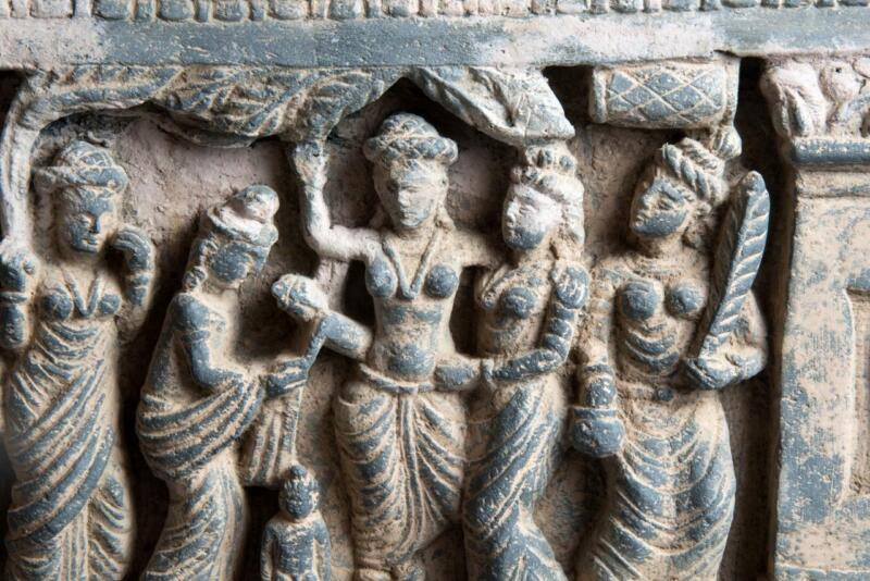 Gandhara panel depicting: The Birth and First Seven Steps of the Buddha