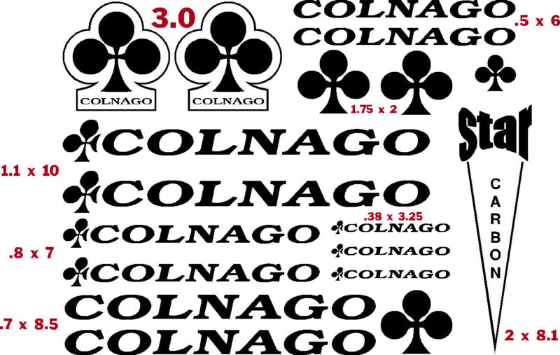 COLNAGO  BICYCLE VINYL CUT DECAL KIT (17)  $13.95 FREE SHIPPING   CHOOSE COLOR