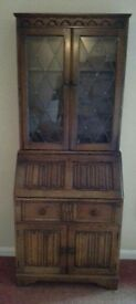 Old charm oak bookcase bureau display cabinet