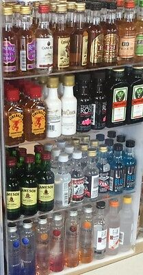 LIQUOR Bottles Display, Mini Sampler 50ml +100ml liquor, Shot, Airplane Bottles